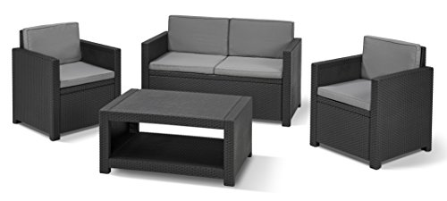Allibert Lounge Set Monaco, Grau, 4-teilig - Liegeinsel Outdoor