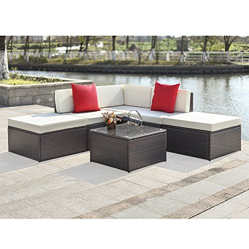 6PCS Rattan Lounge Set Polyrattan Gartenmöbel Set 2 Farbe Optional