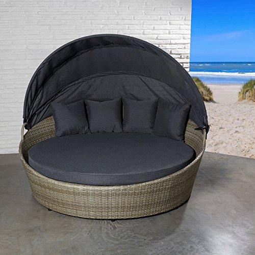 POLY RATTAN Sonnenliege Strandkorb Sonneninsel braun Faltdach Gartenliege Liege