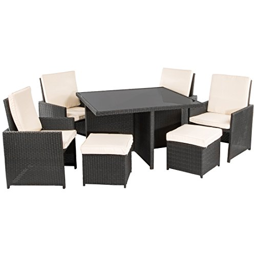 Ultranatura Poly-Rattan Lounge-Set | Palma-Serie 9-teilig / Tisch + 4 Sessel + 4 Hocker inkl. Auflagen