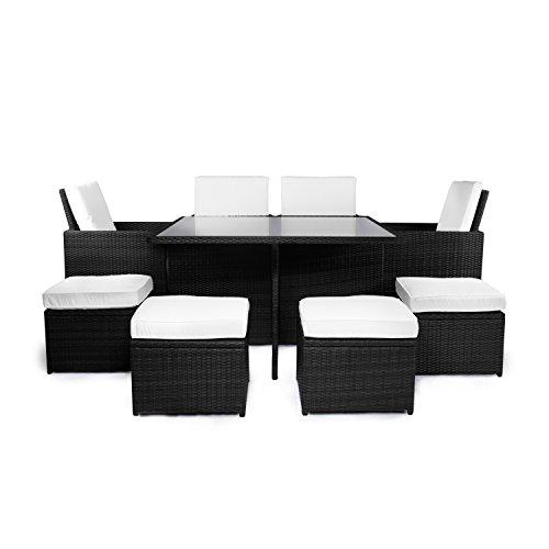 Vanage Gartenmöbel-Set Sydney Rattan-Optik - Polyrattan Lounge-Möbel für Garten | Balkon & Terrasse - 4 Rattan-Stühle | 4 Rattan-Hocker & Esstisch - Outdoor-Möbel inkl. Auflage | schwarz / weiß