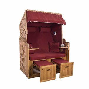 2-Sitzer Strandkorb Hörnum - Volllieger mit Fußablagen  inkl. Nackenkissen und Kuschelkissen Set  | Strandkorb 2-Sitzer