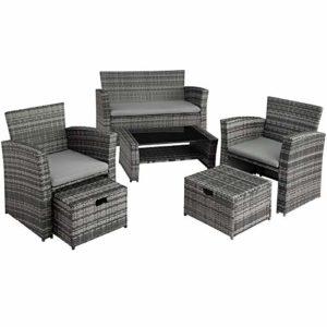 tectake 800719 Poly Rattan Sitzgruppe   | Polyrattan Lounge Set  |