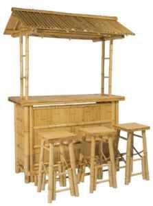 4tlg. Bar RIVAS + Bambus Theke Tresen Barhocker OUTDOOR  | Die RIVAS Bambus Theke als Attraktion für deinen Garten oder Terrasse