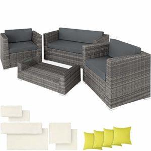 TecTake 403085 Hochwertige Alu Poly Rattan Lounge Sitzgruppe mit 2 Bezugsets  | Sitzgruppe Polyrattan  | Loungemöbel kaufen