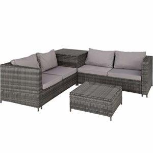 TecTake 800678 Polyrattan Sitzgruppe für 4 Personen  | Polyrattan Lounge Set für Garten und Terrasse  | Loungemöbel Set