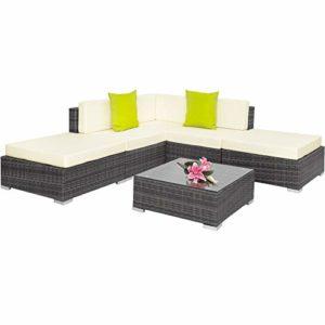 TecTake 403295 Hochwertige Aluminium Polyrattan Lounge  | Loungemöbel Polyrattan  | Loungemöbel Set