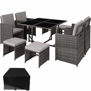 TecTake 403056 Poly Rattan Sitzgruppe Cube  | Loungemöbel Polyrattan  | Loungemöbel Sitzgruppe