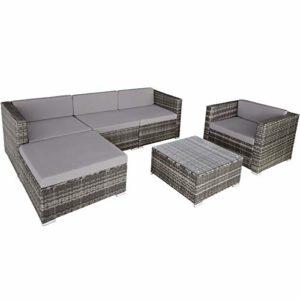 TecTake 800806 Hochwertige Luxus Polyrattan Sitzgruppe  | Lounge Set für Garten und Terrasse  | Loungemöbel Polyrattan