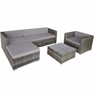 TecTake 800756 Hochwertige Poly-Rattan Sitzgruppe Lounge    Polyrattan Sitzgruppe im modernen Design    Loungemöbel kaufen