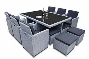 Ragnarök 28 tlg. XXL-Set 10 Personen PolyRattan Esstisch-Set.  | Polyrattan Sitzgruppe im modernen Design  | Loungemöbel Set