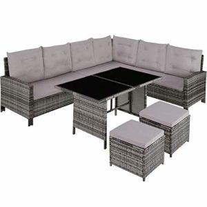 TecTake 800753 Polyrattan Lounge Set    Polyrattan Lounge Set für Garten und Terrasse    Rattan-Sitzgruppe