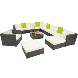 TecTake 800163 Hochwertige XXL Aluminium Poly Rattan Lounge Sitzgruppe | XXL Polyrattan Sitzgruppe | XXL Polyrattan Sitzgruppe