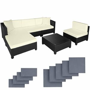 TecTake 800804 Hochwertige Poly Rattan Aluminium Lounge  | Loungemöbel Polyrattan  | Loungemöbel Set
