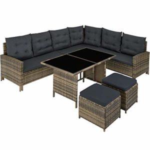 TecTake 800824 Polyrattan Lounge Set für Garten und Terrasse  | Große Rattan-Sitzgruppe  | Loungemöbel Set