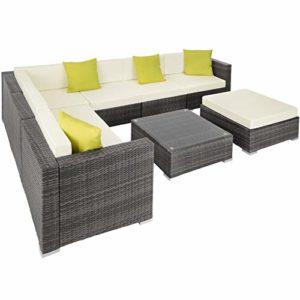 TecTake 800222 Hochwertige Aluminium Polyrattan Lounge Sitzgruppe  | Große Rattan-Sitzgruppe  | Loungemöbel Outdoor