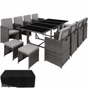 TecTake 403057 Poly Rattan 8+4+1 Sitzgruppe | Poly Rattan Sitzgruppe | Loungemöbel Set