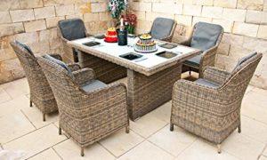 Ragnarök Gartenmöbel Essgruppe   | Polyrattan Sitzgruppe im modernen Design  | Loungemöbel Set