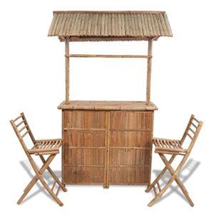 Tidyard Garten-Bar mit Barhockern   Bambus Gartenbar   Bar aus Bambus