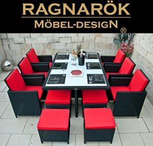 Ragnarök PolyRattan  Gartenmöbel schwarz Essgruppe  | Polyrattan Sitzgruppe im modernen Design  | Dining Lounge Möbel