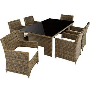 TecTake Hochwertige Luxus Aluminium Poly Rattan Garten Essgruppe  | Polyrattan Lounge Set für Garten und Terrasse  | Loungemöbel Set