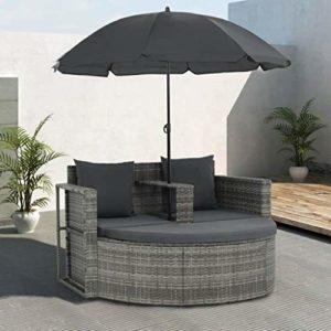Festnight Polyrattan Gartensofa 2-Sitzer mit Sonnenschirm und Fusshocker  | Polyrattan Gartensofa 2-Sitzer   | Sonneninsel Rattansofa