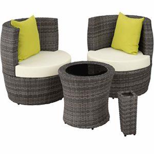 TecTake 800690 Aluminium Poly Rattan Sitzgruppe  | Sitzgruppe für 2 Personen  | Sitzgruppe Lounge