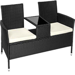 TecTake Sitzbank mit Tisch Poly Rattan Gartenbank  | Loungemöbel Polyrattan  | Loungemöbel Set