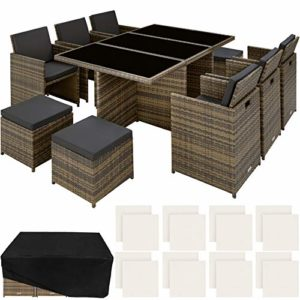TecTake 800855 Aluminium Poly Rattan Sitzgruppe  | Loungemöbel Polyrattan  | Loungemöbel Set