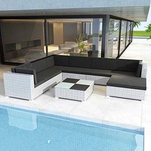 Anself Rattan Lounge Set Loungemöbel Loungeset Loungegruppe 24-teilig Weiß