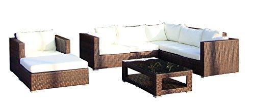 Baidani Gartenmöbel-Sets Designer Lounge-Wohnlandschaft Sunset | Eck-Sofa | 1 Sessel | 1 Hocker | 1 Couchtisch mit Glasplatte | braun
