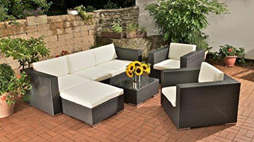 CLP Poly-Rattan 3-1-1 Lounge-Möbel Set | Alu Gestell | Auflagen 6 cm dick schwarz
