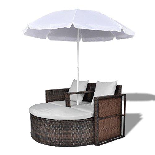 Festnight Sonneninsel Loungemöbel Polyrattan Sonnenliege mit Sonnenschirm und Kissen