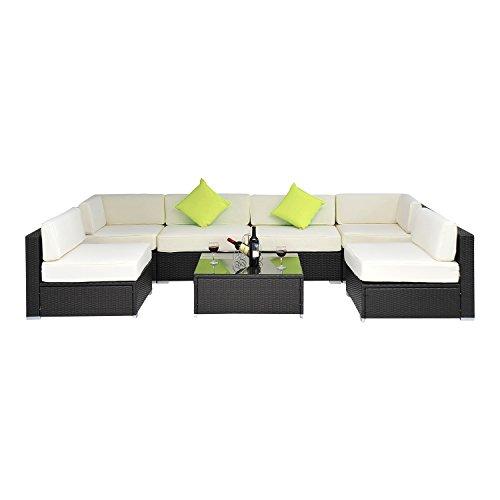 Outsunny Gartenmöbel Polyrattan 23 teilig Aluminium Rattan Gartenset Sitzgruppe Loungeset Loungemöbel | schwarz
