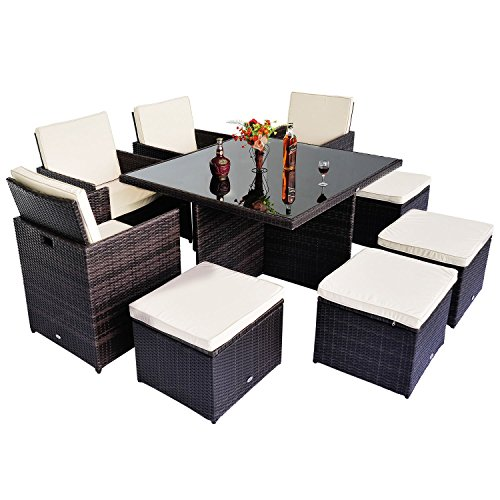 Outsunny Polyrattan Gartenmöbel 21 tlg. Rattan Essgruppe Gartenset Lounge Sitzgruppe Sofa Loungemöbel Garnitur inkl. Kissen Alu | Schutzhülle