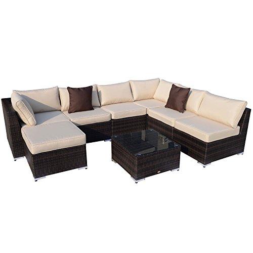 Outsunny Gartenmöbel 25 teilig Polyrattan Sofa Sitzgruppe Alu Rattan mix inklusive Kissen | braun