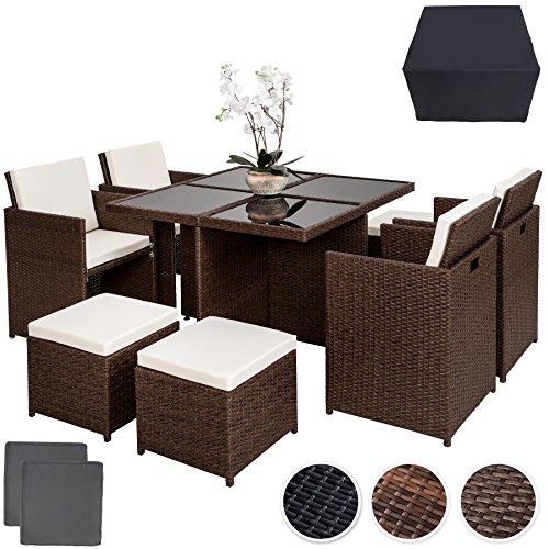 TecTake Poly Rattan Aluminium 4+1+4 Sitzgruppe Cube 4 Stühle 1 Tisch 4 Hocker + Schutzhülle & Edelstahlschrauben