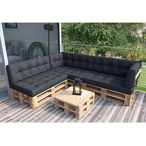 Palettenkissen Palettenmöbel Ecksofa Couch Sitzecke inkl. Palette Loungemöbel Indoor (Anthrazit)