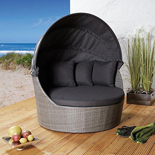 Strandkorb Poly Rattan Liegeinsel Sonneninsel grau meliert Gartenmuschel Gartenmöbel