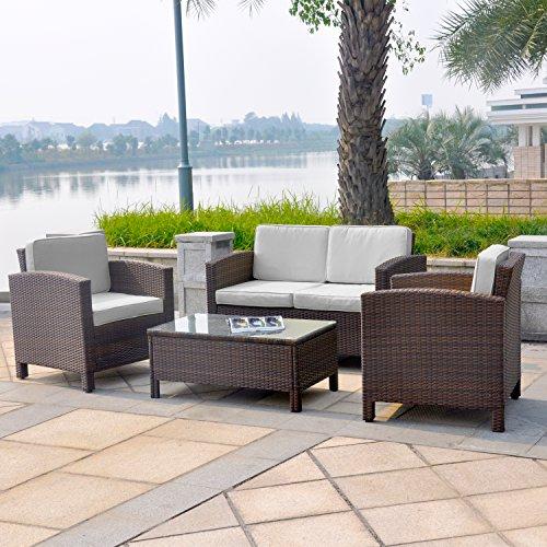 13tlg. Deluxe Lounge Set Gruppe Garnitur Gartenmöbel Loungemöbel Polyrattan Sitzgruppe - handgeflochten - braun-mix von XINRO