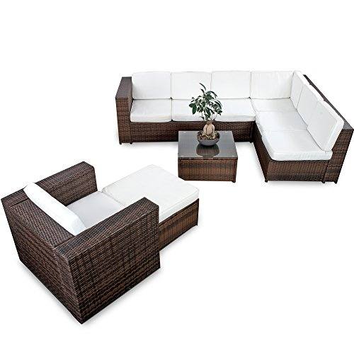 XINRO 22tlg. Polyrattan Gartenmöbel Lounge Set Polyrattan Sitzgruppe Loungemöbel + 1x Lounge Sessel - Rattan Garnitur Sitzgruppe - In/Outdoor - handgeflochten - braun