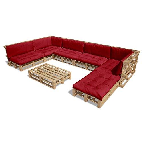 vidaXL 21tlg. Holz Palettenmöbel 13 Palettenkissen Lounge Set Gartenmöbel Sitzgruppe